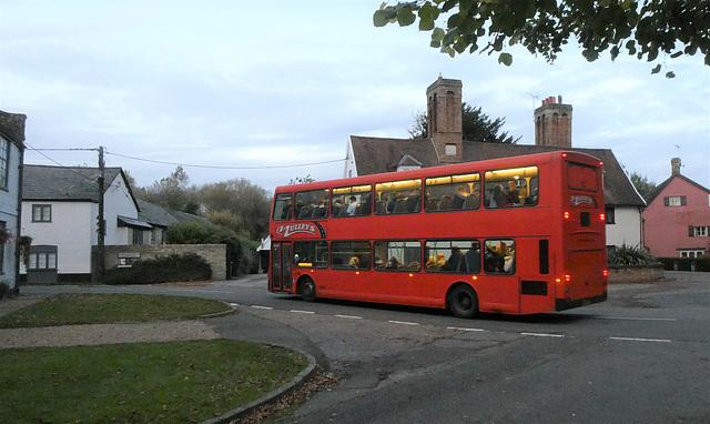 Mulleys Motorways bus in Barton Mills - 28 Oct 2019 (P1040890)