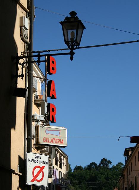 Red bar on blue sky