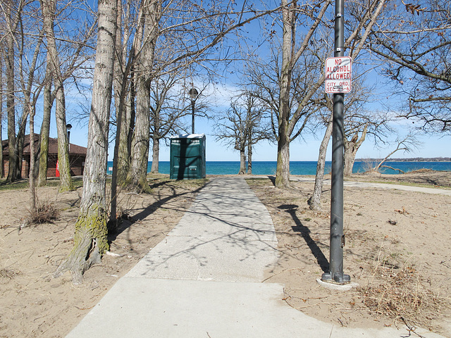 Walking to Lake Huron and stopping at the bathroom on the way, without alcohol.
