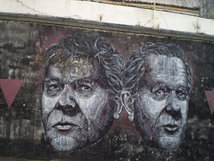 Portraits on mural.