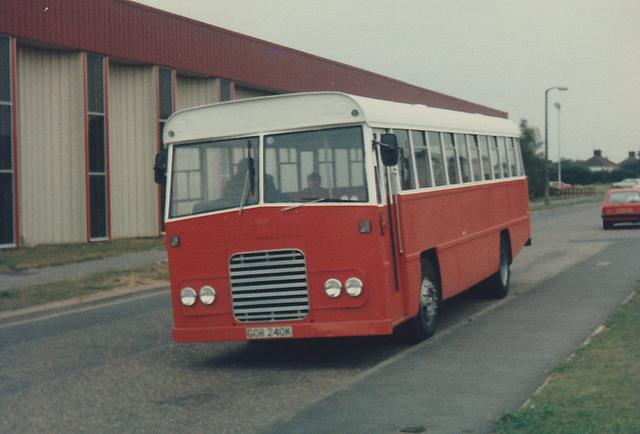 Winchmore Furniture staff bus GOR 240K in Mildenhall - Sep 1984