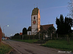 Bergkirche von Neunkirch 8213   Kurz nach Sonnenuntergang