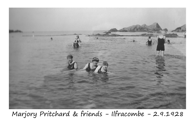 Marjory Pritchard & friends bathing at Ilfracombe - 2.9.1928