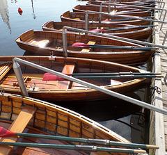 Ruderboote sortiert - an der Außenalster