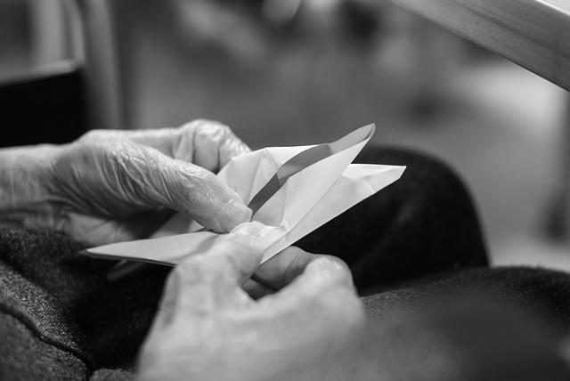 Folding a paper crane
