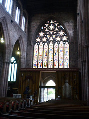 Entrance and stained glass windows.
