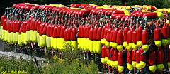 Buoys in Red & Dayglo Yellow