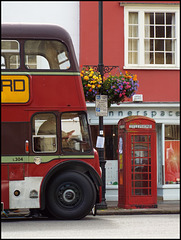old bus and phone box