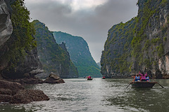Between the limestones in Halong bay