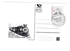 Poŝtkarto 120 jaroj de fervojo Svitavy-Polička 1896-2016