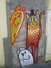 Painted on walled door.