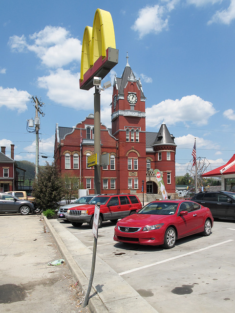 The Tucker County Courthouse!, classic historic smalltown county courthouse, with clocktower and ferris wheel.