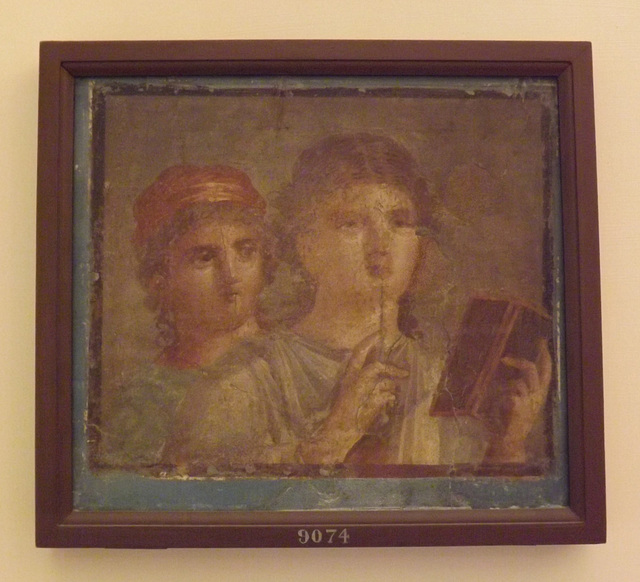 Wall Painting with Two Women, One with a Diptych and a Stylus from Herculaneum in the Naples Archaeological Museum, June 2013