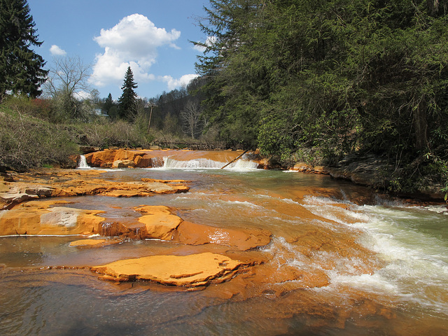 Acid mine drainage scenery of the North Fork of the Blackwater River in Tucker County, West Virginia.