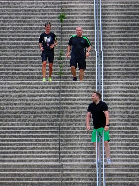 Germans jogging on the Wilhelmina stair,  Landgraaf _Netherlands