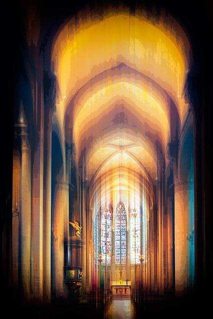 CARCASSONNE (France), Intérieur de la Basilique Saint-Nazaire et Saint-Celse,  le Cœur et la Nef