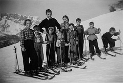 Skikurs am Bichlhof  im Winter 1953