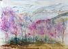 Aquarelle : Près de Sisteron, le printemps ...