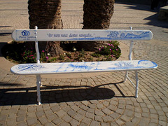 Bench painted with historic theme.