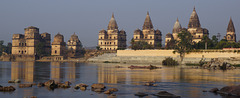 Cenotaphs/ Chhatris on the bank of the Betwa River (Orchha)