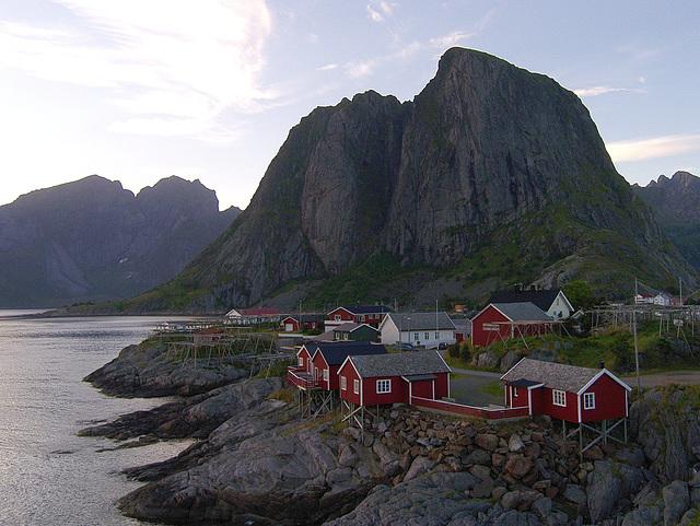 Classical view of Hamnøya - from the bridge connecting islands Hamnøya and Toppøya