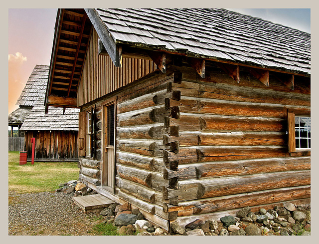 Log building at the 108 Mile Ranch.