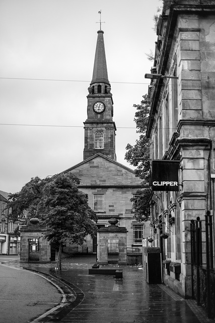 Riverside Parish Church in the Pouring Rain, High Street, Dumbarton