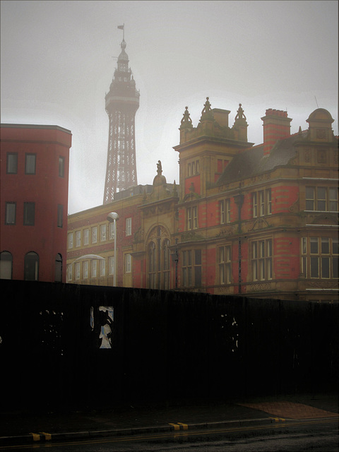 Blackpool town hall and the tower behind