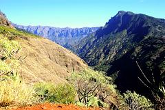 Blick in den Barranco de las Angustias (Schlucht der Ängste) in Richtung Caldera Taburiente von der Westseite der Insel aus.  ©UdoSm
