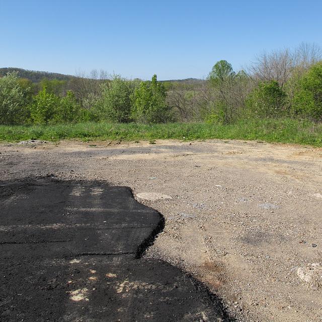 At an asphalt pour.