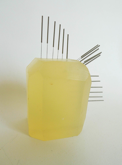 soap and acupuncture needles