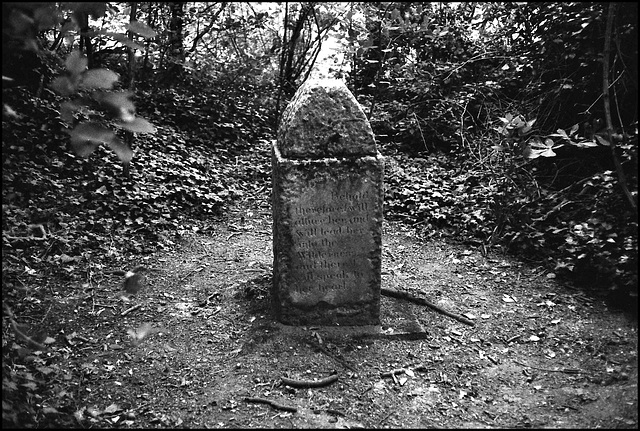 Memorial stone (?) near Shoreham, Kent.