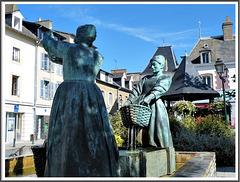 Fontaine , sculpture de J. Fréour : Les laveuses d'huîtres à Cancale (35)
