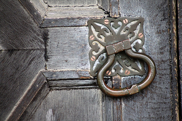 Detail of Door Handle, Front Door t0 Hardwick Hall, Derbyshire