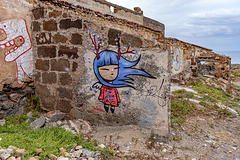 blue haired girl on old walls - Joy