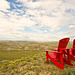 red chairs at badlands viewpoint