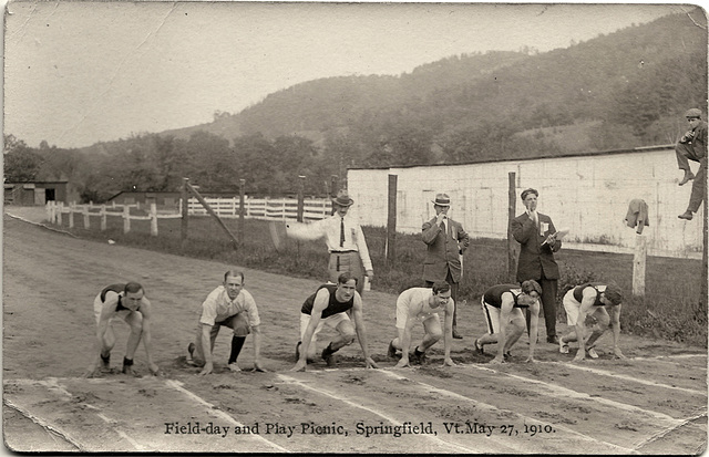 Ernest Gets Ready to Sprint, May 27, 1910