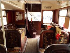 downstairs in an old bus
