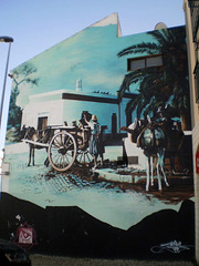 Mural with old scene.