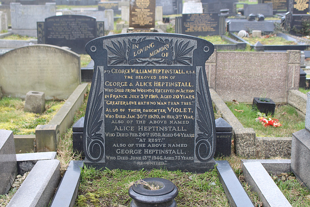 Memorial to George Heptinstall, Barnsley Cemetery, Cemetery Road, Barnsley, South Yorkshire.