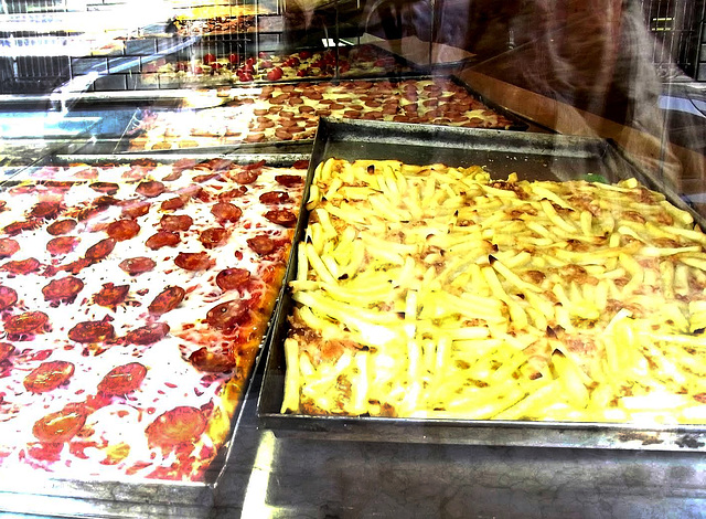 Pizza in the window
