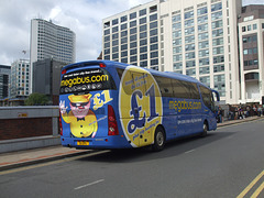 DSCF9335 Freestones Coaches (Megabus contractor) E11 SPG (YN08 JBX) in Birmingham - 19 Aug 2017