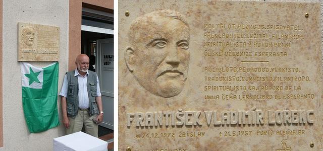 Memortabulo omaĝe al F. V. Lorenz kaj ĝia aŭtoro - Zdeněk Myslivec