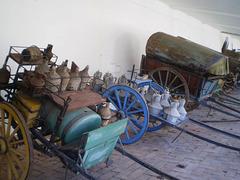 Horse-drawn load wagons.