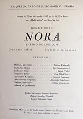 Henrik Ibsen - Nora (Hejmo de ludiloj) - afiŝo pri la esperantlingva surscenigo (1957)