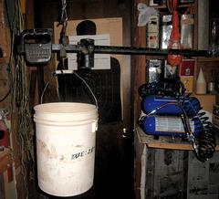 Weighing grain on the steel yard