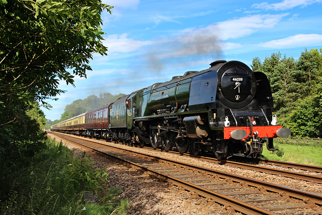 "LMS class 8P Coronation  no 46233 DUCHESS OF SUTHERLAND at Meads Lane Crossing with  ""The Scarborough Flyer"" 1st July 2017"