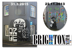 She's changed a bit since 2013 - Brighton walls - 31.3.2015