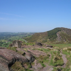Looking from Hen Cloud (410m) to Rockhall and the wooded section of The Roaches