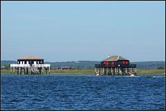 Les cabanes tchanquées en face de l'île aux oiseaux